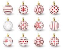 Sistema de bolas brillantes de la Navidad Foto de archivo