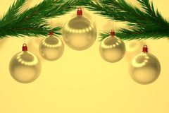 Sistema de bolas de la Navidad del oro Imagenes de archivo