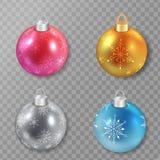 Sistema de bolas de la Navidad en diversos colores Ilustración del vector Foto de archivo