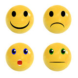 Sistema de bolas realistas con las caras emocionales en él, sistema del VECTOR imagen de archivo libre de regalías