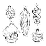 Sistema de bolas y de juguetes dibujados mano del vintage Elementos del diseño de la Navidad y del Año Nuevo Foto de archivo