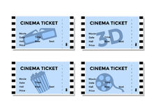 Sistema de boletos azules del cine con la imagen de 3D-glasses, de las palomitas y de las películas Fotografía de archivo libre de regalías