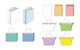 Sistema de bolsas de papel del vector Fotografía de archivo