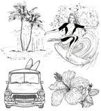 Sistema de bosquejos del estilo de la playa del diseño que practican surf Fotos de archivo libres de regalías