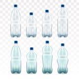 Sistema de botellas de agua azules plásticas en blanco transparente Imagenes de archivo