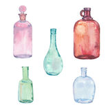 Sistema de botellas de la acuarela Foto de archivo