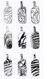 Sistema de botellas del diseño Elementos dibujados mano aislados en el fondo blanco Foto de archivo