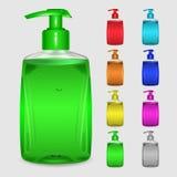 Sistema de botellas multicoloras de jabón líquido Fotografía de archivo libre de regalías