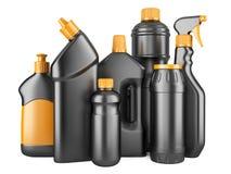Sistema de botellas negras con los detergentes Foto de archivo libre de regalías