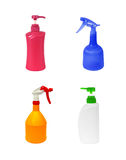 Sistema de botellas plásticas aisladas en el fondo blanco Imagen de archivo