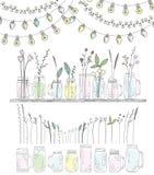 Sistema de botellas Tarros para los smoothies y las limonadas Fotografía de archivo libre de regalías