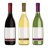Sistema de botellas de vino aisladas en el fondo blanco ilustración del vector
