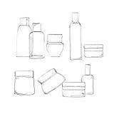 Sistema de botellas y de tarros Fotografía de archivo libre de regalías