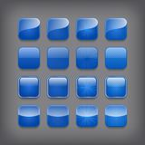 Sistema de botones azules en blanco stock de ilustración