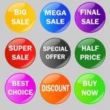 Sistema de botones brillantes de la venta ilustración del vector