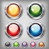 Sistema de botones brillantes redondos Fotografía de archivo libre de regalías