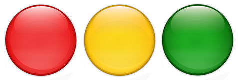 Sistema de botones brillantes vacíos del web del semáforo, fondo brillante, blanco Foto de archivo