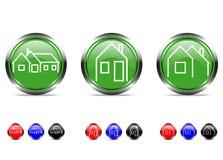 Sistema de botones con la casa ilustración del vector