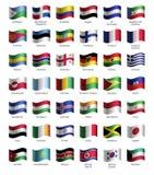 Sistema de botones con las banderas stock de ilustración