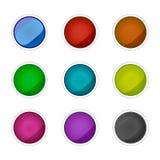 Sistema de botones de cristal coloreados Elementos del vector ilustración del vector
