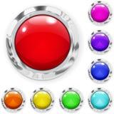 Sistema de botones de cristal multicolores grandes Imágenes de archivo libres de regalías