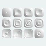 Sistema de botones de la casilla blanca Imágenes de archivo libres de regalías