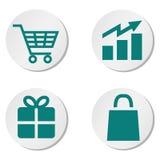 Sistema de botones de las compras Fotos de archivo libres de regalías