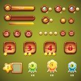 Sistema de botones de madera, de barras de progreso, y de otros elementos para el diseño web Imagen de archivo libre de regalías