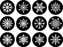Sistema de botones del copo de nieve Fotos de archivo