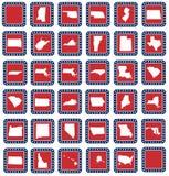 Sistema de botones del mapa del estado americano Fotografía de archivo libre de regalías