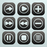 Sistema de botones en negro con los iconos blancos en ellos o Fotografía de archivo libre de regalías
