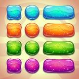 Sistema de botones frescos de la jalea con las burbujas stock de ilustración