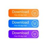 Sistema de botones de la transferencia directa en el fondo blanco Libere 30 días de ensayo libre illustration