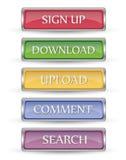 Sistema de 5 botones metálicos del web Fotografía de archivo libre de regalías