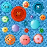 Sistema de botones multicolores en un fondo de los vaqueros libre illustration