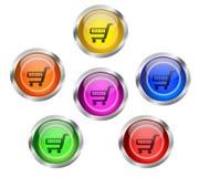 Botón del icono del carro de la compra Fotografía de archivo libre de regalías
