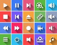 Sistema de botones planos del color. Imagen de archivo libre de regalías