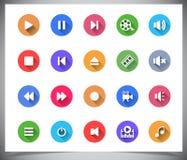 Sistema de botones planos del color. Fotos de archivo libres de regalías