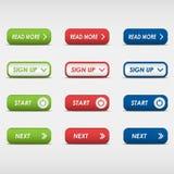 Sistema de botones rectangulares coloreados Fotografía de archivo