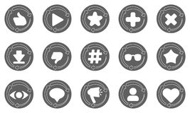 Sistema de botones redondeados con estadísticas libre illustration