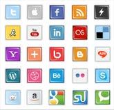 Botones sociales cuadrados de los medios Imágenes de archivo libres de regalías