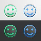 Sistema de botones verdes y azules bajo la forma de Emoji sonriente en fondo ligero y oscuro Ejemplo del vector para Imagen de archivo libre de regalías