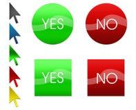 Sistema de botones verdes y rojos y de flechas Foto de archivo libre de regalías
