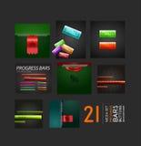 Sistema de botones y de fondos de las barras de progreso Imágenes de archivo libres de regalías