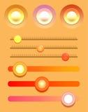 Sistema de botones y de resbaladores multicolores de los varios Imagen de archivo libre de regalías