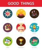 Sistema de buenos iconos de las cosas de los hombres planos modernos del diseño Foto de archivo libre de regalías