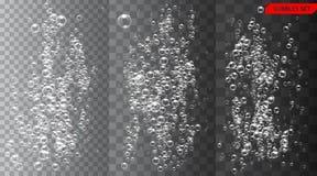 Sistema de burbujas bajo ejemplo del vector del agua en fondo transparente ilustración del vector