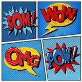 Sistema de burbujas cómicas en el estallido Art Style Fotos de archivo