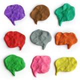 Sistema de burbujas coloridas del discurso del plasticine Nubes hechas a mano de la charla de la arcilla de modelado Foto de archivo libre de regalías