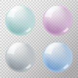 Sistema de burbujas de jabón en fondo transparente Fotos de archivo
